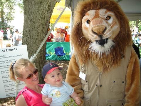 Caleb, Mommy, and a lion.