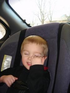 Caleb acting cute in the car