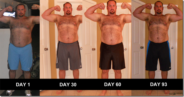 P90X - Front Flexed Pictures - Day 0 - Day 93